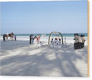Kenya Wedding On Beach Wide Scene Wood Print
