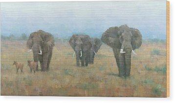Kenyan Elephants Wood Print by Steve Mitchell