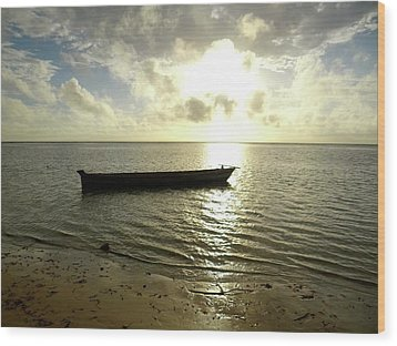 Kenyan Wooden Dhow At Sunrise Wood Print