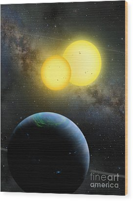 Kepler-35 Wood Print by Lynette Cook