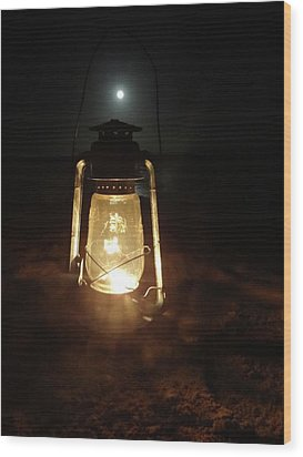 Kerosine Lantern In The Moonlight Wood Print
