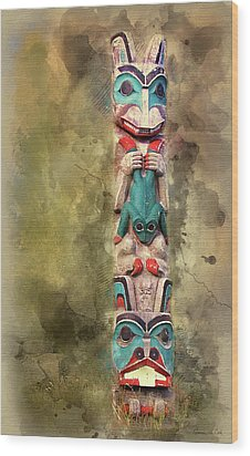 Ketchikan Alaska Totem Pole Wood Print
