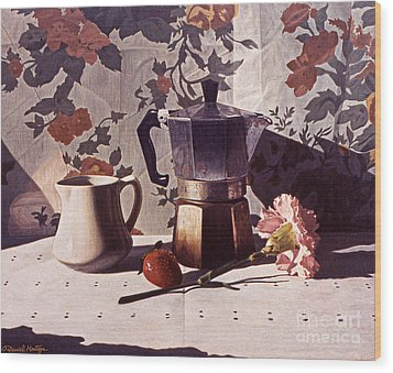 Kettle And Pink Carnation Wood Print by Daniel Montoya