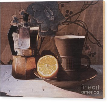 Kettle Cup And Saucer Wood Print by Daniel Montoya