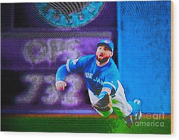 Kevin Pillar In Action II Wood Print by Nina Silver