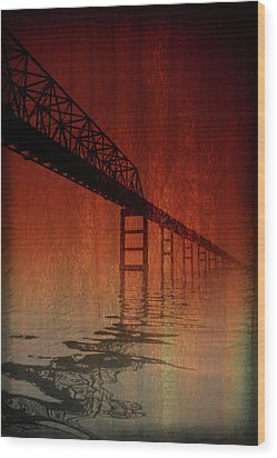 Key Bridge Artistic  In Baltimore Maryland Wood Print by Skip Willits