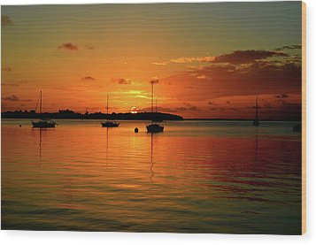 Key Largo Sunset Wood Print