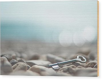 Key On Pebbles Wood Print by Alexandre Fundone