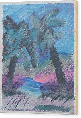 Key Palms Wood Print by Judy Loper