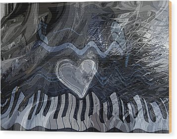 Wood Print featuring the digital art Key Waves by Linda Sannuti