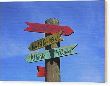 Key West 165 Miles Wood Print