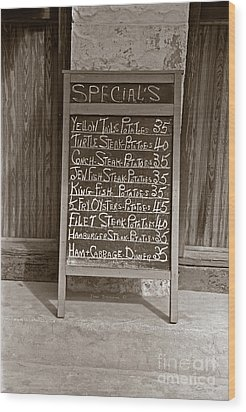 Wood Print featuring the photograph Key West Depression Era Restaurant Specials by John Stephens