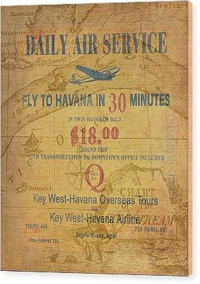 Key West To Havana Wood Print