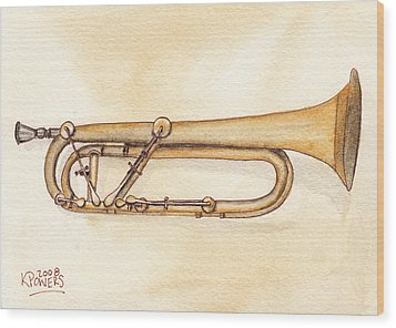 Keyed Trumpet Wood Print by Ken Powers
