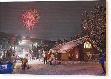 Keystone Resort Fireworks Wood Print by Michael J Bauer
