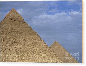 Khephren Pyramid And The Great Pyramid Wood Print by Sami Sarkis