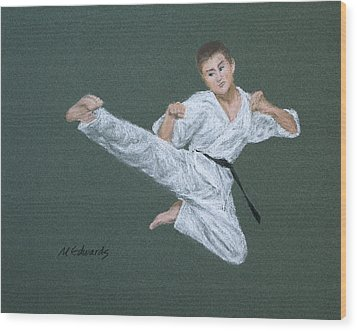 Kick Fighter Wood Print by Marna Edwards Flavell
