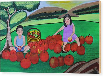 Wood Print featuring the painting Kids Playing And Picking Apples by Lorna Maza