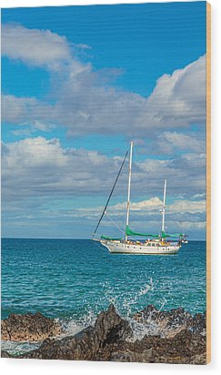 Kihei Sailboat 4 Wood Print