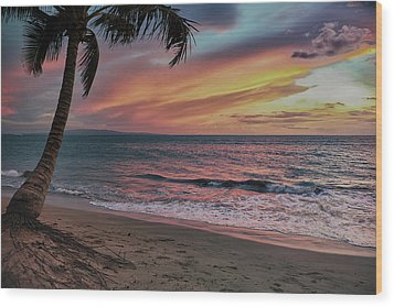 Wood Print featuring the photograph Kihei Sunset by Trever Miller