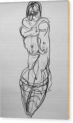 Wood Print featuring the drawing Kilroy 5 by Jarmo Korhonen aka Jarko