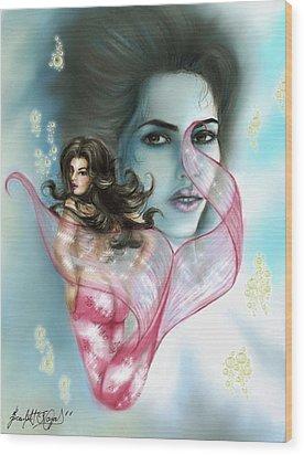 Kim The Mermaid Wood Print by Scarlett Royal