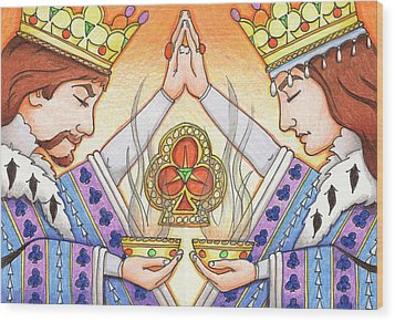 King And Queen Of Clubs Wood Print by Amy S Turner