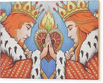 King And Queen Of Hearts Wood Print by Amy S Turner