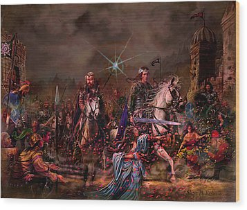 Wood Print featuring the painting King Arthur Returns by Steve Roberts