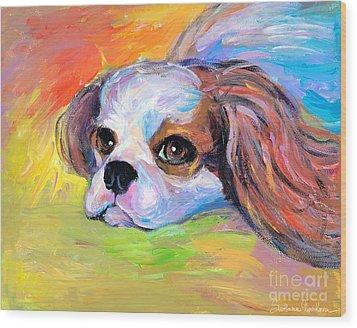 King Charles Cavalier Spaniel Dog Painting Wood Print by Svetlana Novikova
