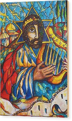 Wood Print featuring the painting King David by Rae Chichilnitsky