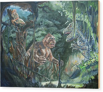 Wood Print featuring the painting King Kong Vs T-rex by Bryan Bustard