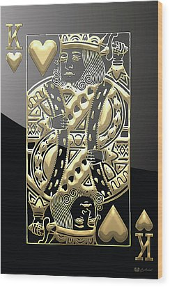 King Of Hearts In Gold On Black Wood Print