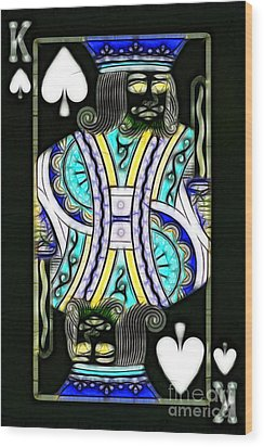 King Of Spades - V2 Wood Print by Wingsdomain Art and Photography