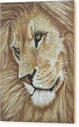 Wood Print featuring the drawing King Of The Jungle by Heidi Kriel