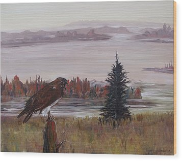 Wood Print featuring the painting King Of The Mist by Diane Daigle