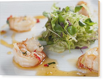 King Prawns Ginger Chilli And Coriander Starter Presented On A White Background Wood Print by Andy Smy