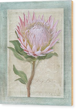 Wood Print featuring the painting King Protea Blossom - Vintage Style Botanical Floral 1 by Audrey Jeanne Roberts