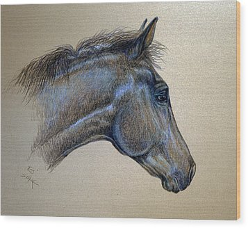 Wood Print featuring the drawing King by Suzanne McKee