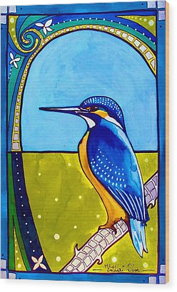 Kingfisher Wood Print by Dora Hathazi Mendes