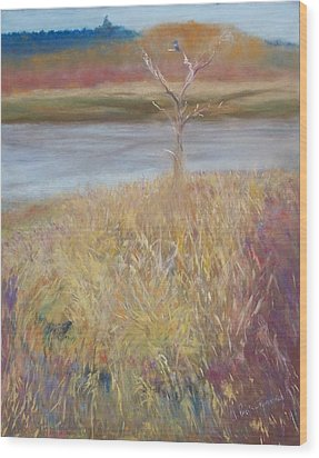 Kingfisher Wood Print by Jackie Bush-Turner