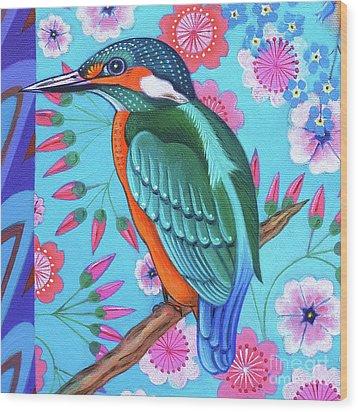 Kingfisher Wood Print by Jane Tattersfield
