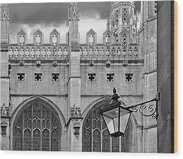 Wood Print featuring the photograph Kings College Chapel Cambridge Exterior Detail by Gill Billington