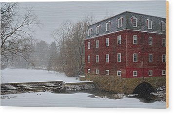 Wood Print featuring the photograph Kingston Mill In Winter Storm by Steven Richman
