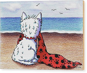 Kiniart Beach Blanket Westie Wood Print by Kim Niles