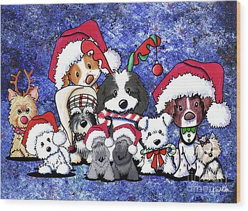 Kiniart Christmas Party Wood Print by Kim Niles