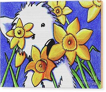 Kiniart Westie Daffodils Wood Print by Kim Niles