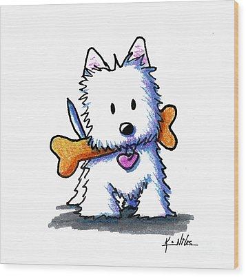 Kiniart Westie With Bone Wood Print