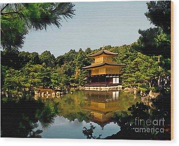 Kinkakuji-gold Pavilion Wood Print by Linda  Parker