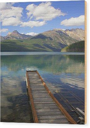 Kintla Lake Dock Wood Print by Marty Koch